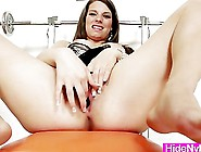Brunette Michelle Playing With Her Wet Pussy And Legs In Nylons
