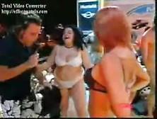 image Tzoulia mparka strips in greek tv show