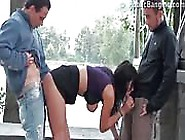 Brunette Party Girl Loves Outdoor Fucking With Two Guys