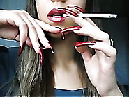 Sexy Girl With Extra Long Nails Smoking Seductively On Webcam