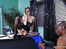 Petite Secretary,  Riley Reid And Her Handsome,  Black Boss Seem T