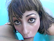 Sisi Sinz Gives A Deepthroat Blowjob On The Poolside
