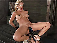 Blonde Mommy With A Ball Gag In Her Mouth Lies On Sharp Bench An
