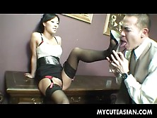 Dominant Asian Demands He Worship Her Pussy And Feet