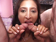 Cute Brunette Slut Gets Her Hairy Twat Nailed In 3Some