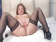 Sexy Babe Strips And Toys On Cam Wearing Stockings And Heels