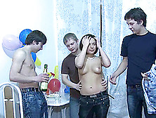 Mouthwatering Teen Gets Gangbanged By Three Russian Boys