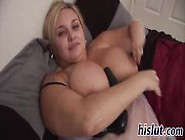 Fat Blonde With Huge Tatas Masturbates