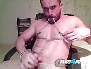 Cam Stud Dennix Shoots A Big Load Tugging On His Nipple Clamps