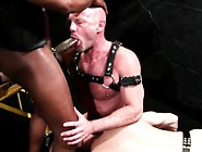 Black Leather Gay Rims Ass In Threesome