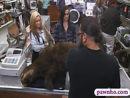 Lesbian Couple Fucking With Pawnkeeper For Some Money
