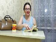 Girl Masturbating At The Table,  Reading A Book