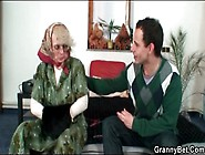 Granny In Glasses Gives Young Cock A Bj