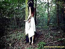 Black Haired Babe Is Masturbating In The Forest,  Because It Exci