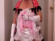 Adultbaby Sissy Crossdresser In Pretty Red Dress Triple Diapered
