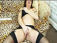 Cute Brunette Mom Masturbates In Stockings