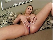 Purple Satin Panties Cling To Her Perfect Pussy