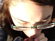 Teenager With Eyeglasses Suscks Outside Cum In Mouth