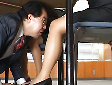 Old School Principal Looking For A Wet Pussy Under The Table