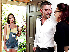 A Teen Babe Comes To The Door And This Couple Seduces Her