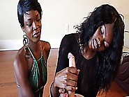 Two Ebony Sluts Nut Off A White Cock