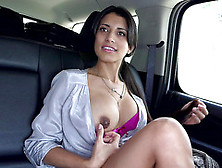 Busty Latina Starts Posing Her Amazing Psir Of Tits While On The