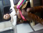 Flashing And Cumshot For Sexy Teen Girl In Stockings At Subway C