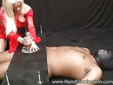 Sadistic mute destroys cock in bondage handjob 5