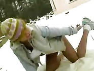 Hot Blonde Girl Plays With Herself In The Snow