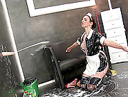Latex Maid Sucks The Big Dildo And Gets Covered In Sticky Fake C