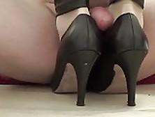 Cum On Her High Heels - Nylon Footjob