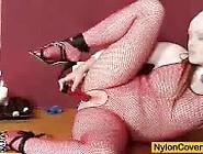 Redhead Samantha Nylon Face