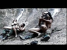 Blonde And Brunette Soldiers Fucking Two Enemies Outdoors