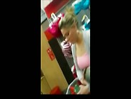 Perfect Blonde In Fitting Room With Face