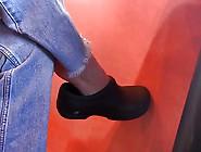 Restaurant Worker Barefoot Shoeplay