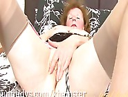 Old Woman In Zebra Lingerie Plays With Herself