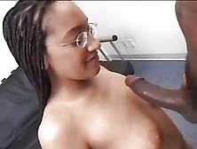 Tall Nerdy Redbone In Braids Sucks On Her Knees