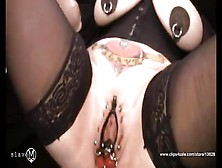 Amateur With Giant Tits And Lots Of Piercings Gets Herself Off