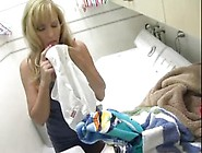 Busty Blond Mom Masturbates Sniffing Her Son's Panties When