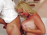 Mature Blonde Woman With Big Tits Is Having Anal Sex With A Much