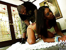 Ebony Goddess With Big Booty Leah Luxx Works On Rico Strong's Bb