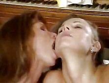 Cute Blond Teen Sharing A Big Cock With A Redhead