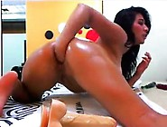 Horny Brunette Teen Toys Ass Before Hot Double Penetration