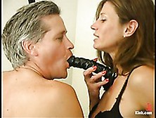 Domme Kym Wilde Pulls Down Willie's Briefs To Play With His Cock