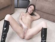 Sexy Brunette Beauty Masturbates In High Heels Boots And Thongs