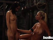 Enslaved Girl Licking Horny Mistresses Pussy