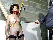 Bondage Sex Slave Tit Torture With Caning