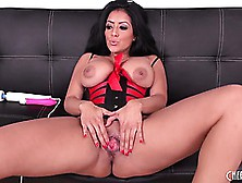 Buxom Brunette Kiara Mia Shows Her Cunt And Ass As She Toys And