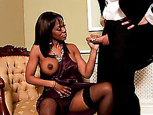 Classy Ebony Gets Her Shaved Tunnel Of Love Filled By A White Co