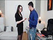 Office Babe In Skirt And Glasses Sucks His Cock